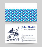 Surf business card template vector illustration