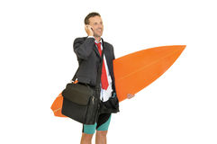 Surf businessman Royalty Free Stock Image