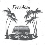 Surf camp concept. Vector Summer surfing retro badge. Surfing concept for shirt or logo, print, stamp. Surf icon design. - stock vector royalty free illustration