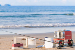 Surf casting fishing rod, long-line Royalty Free Stock Photos