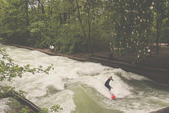 Surf in central Munich, Germany Royalty Free Stock Images