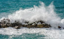 The surf at the Cinque Terre coastline Royalty Free Stock Photo