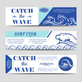 Surf club banners with waves Royalty Free Stock Images