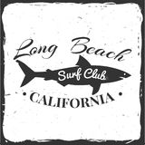 Surf club concept. Surf club retro badge with shark. Surfing concept for shirt or logo, print, stamp. Vector illustration Stock Images