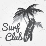 Surf club concept Vector Summer surfing retro badge. Surfer club emblem , outdoors banner, vintage background. Surf board and palm Royalty Free Stock Photography