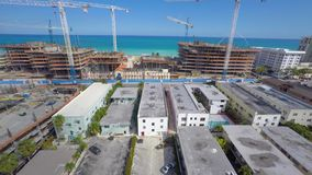 Surf Club Construction site aerial video stock footage