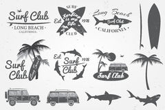 Surf club emblem, retro badge and design elements. Vector illustration. Royalty Free Stock Image