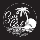 Surf Club inscription with palm tree,ocean and sun. Black and white hand drawn typography design.Surf Club inscription with palm tree,ocean and sun Stock Image