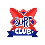 Surf club logo, retro badge for surf school, beach rest, summer water sports vector Illustration. Isolated on a white background Royalty Free Stock Photo