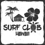Surf club retro badge. Surfing concept for shirt or logo, print, stamp. Turtle, hawaii. Vector illustration Royalty Free Stock Images