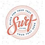Surf club stamp. Vintage hand lettering emblem of Surf club on palm trees background. Vector illustration Stock Photo