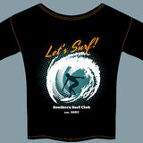 Surf Club t-shirt template design stock illustration