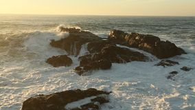 Surf on the coastal rocks on the Atlantic ocean. Nature. stock video