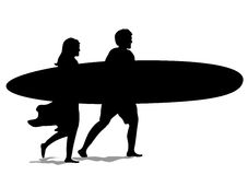 Surf Couple Silhouette Stock Photos