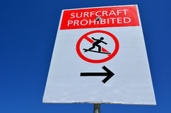 Surf Craft prohibited  Sign Stock Photo