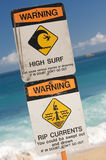 Surf and Currents Warning Sign Royalty Free Stock Image