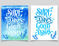 Surf days watercolor greeting cards Stock Image