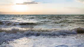 Surf at Dead Sea in winter evening Stock Images