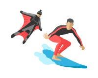 Surf des neiges de vecteur sautant le flyboard surfant d'athlètes de silhouettes d'illustration de la vie de vitesse de wakeboard Images libres de droits