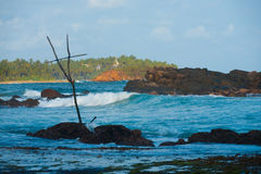 Surf Destination Wave Break Mirissa Stilt Fishing Stock Photos
