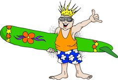 Surf Dude. Cartoon image of a very happy man with a surfboard Royalty Free Stock Photo
