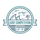 Surf emblem. Round surfing wave emblem abstract illustrated badge Stock Images