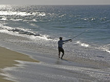 Surf Fisherman. Silhouette of a surf fisherman in Cabo San Lucas, Baja California Sur, Mexico. (8MP camera Royalty Free Stock Photography