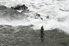Surf fishing extrordinaire. Fisherman at Muriwai, New Zealand Stock Images