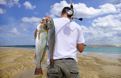 Surf fishing, fish. Surf fisherman holding  two big meager fish Stock Photo