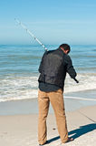 Surf fishing in Gulf of Mexico Stock Photography