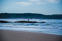 Surf Fishing, One Mile Beach, Port Stephens Stock Photo