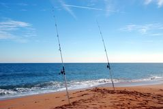 Surf fishing poles Royalty Free Stock Images