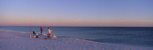 Surf fishing at Santa Rosa. Island near Pensacola, Florida Royalty Free Stock Photography