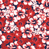 Surf floral hibiscus seamless pattern Royalty Free Stock Photos