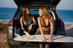 Surf and friendship Stock Image