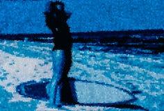 Surf girl icon Royalty Free Stock Photos
