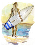 Surf girl in the sea Royalty Free Stock Photo