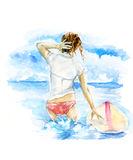 Surf girl in the sea. Hand drawn watercolor illustration Royalty Free Stock Photo