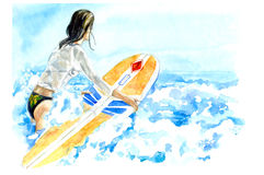 Surf girl in the sea. Hand drawn watercolor illustration Royalty Free Stock Photography