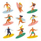 Surf girls and boys surfing in the sea set. 70s style. royalty free illustration
