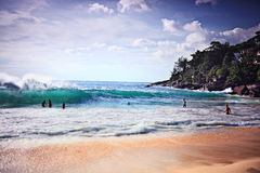 Surf with green wave Royalty Free Stock Images