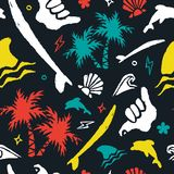 Surf icon background art in grunge surfer style. Surf seamless pattern with handmade grunge texture icons and doodles. Colorful surfer decoration tropical beach royalty free illustration