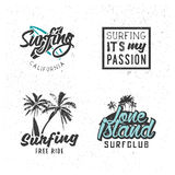 Surf icons. Set of surfing logos in vintage style, surf themed t-shirts prints, typography graphics elements for your design Stock Photography