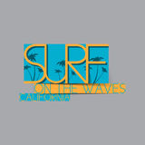 Surf Illustration with blue and yellow colors Stock Photo