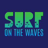 Surf illustration with green and blue gradient Royalty Free Stock Images