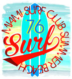 Surf Illustration / t-shirt graphics / vectors/ typography/ paci. Fic surf wave/ summer tropical heat print/ surf print vector set/ wave illustration fashion Stock Photo