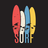 Surf illustration typography with surf boards Royalty Free Stock Photo