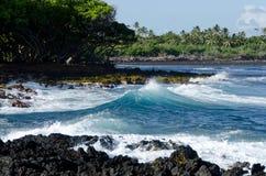 Surf at Isaac Hale Park. Puna, Big Island, Hawaii Royalty Free Stock Photography