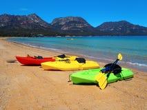 Surf Kayaks, Hope Beach, Tasmania Royalty Free Stock Images