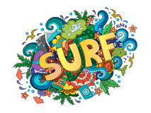 Surf  lettering design, hand-drawn t-shirt Stock Image